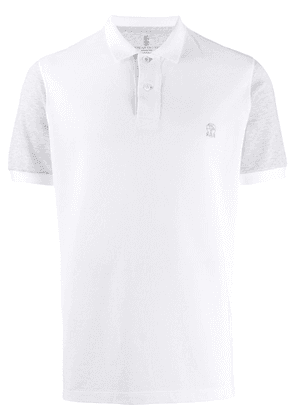 Brunello Cucinelli contrasting sleeves polo shirt - White