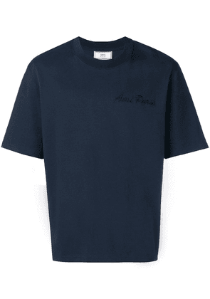 Ami Alexandre Mattiussi Crewneck Tee With Ami Paris Embroidery - Blue