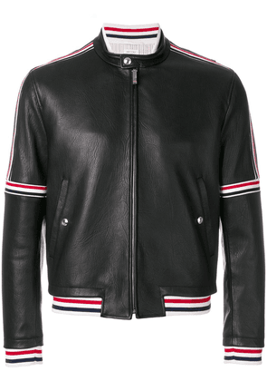 Thom Browne Cropped Elastic-Seamed Leather Jacket - Black