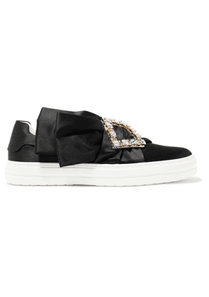 Roger Vivier - Sneaky Viv Crystal-embellished Satin Slip-on Sneakers - Black