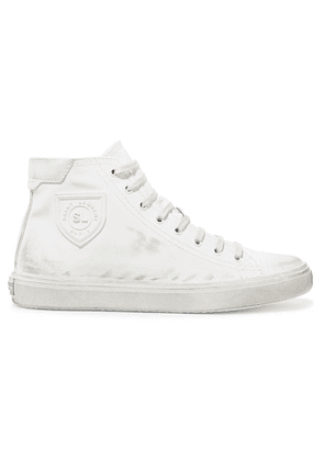 SAINT LAURENT - Bedford Logo-appliqued Distressed Leather High-top Sneakers - White