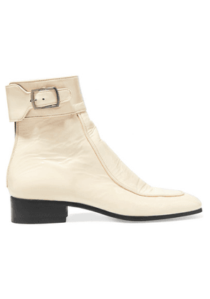 SAINT LAURENT - Miles Patent-leather Ankle Boots - Cream