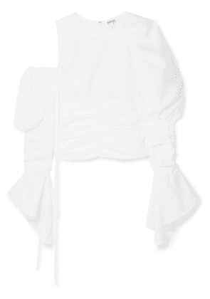 Loewe - Cutout Ruched Cotton And Linen Top - White