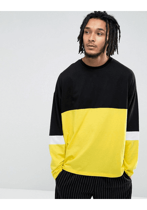ASOS Super Oversized Longline Long Sleeve T-Shirt With Colour Blocking In Yellow