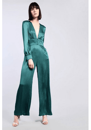 Womens **Green Satin Pleated Jumpsuit By Glamorous - Green, Green