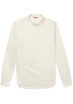 Barena - Striped Cotton And Wool-blend Half-placket Shirt - Off-white
