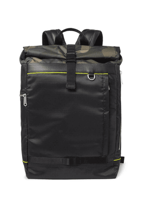 Paul Smith - Leather-trimmed Camouflage-panelled Ripstop Backpack - Black