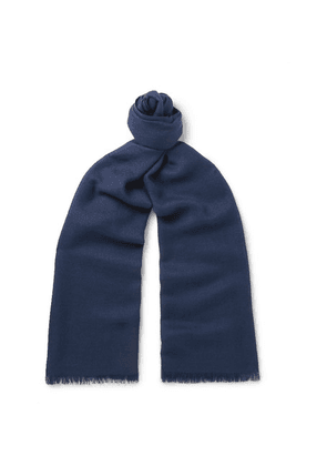 Loro Piana - Fringed Cashmere And Silk-blend Scarf - Blue