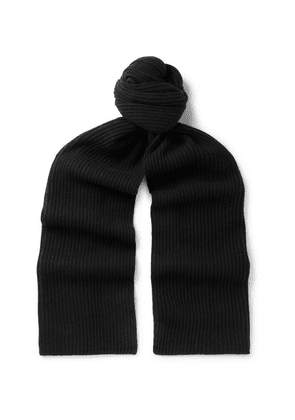 SAINT LAURENT - Ribbed Wool And Cashmere-blend Scarf - Black