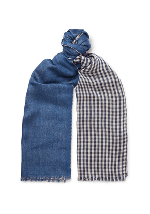 Loro Piana - Fringed Gingham Cashmere And Silk-blend Scarf - Blue