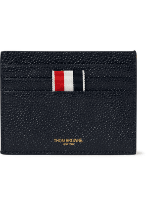 Thom Browne - Striped Grosgrain-trimmed Pebble-grain Leather Cardholder - Navy