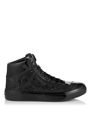 ARGYLE Black Fine Glitter High Top Trainers with Stars and Crystals