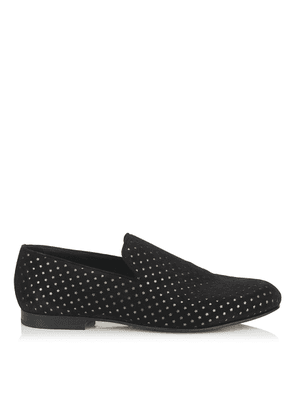 SLOANE Black Star Perforated Dry Suede Slippers
