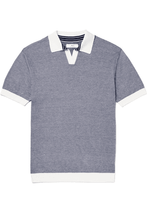 Mr P. - Knitted Cotton-piqué Polo Shirt - Navy
