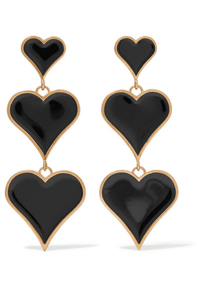 SAINT LAURENT - Gold-tone And Enamel Clip Earrings - Black