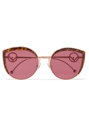 Fendi - Cat-eye Gold-tone And Printed Tortoiseshell Acetate Sunglasses - Red