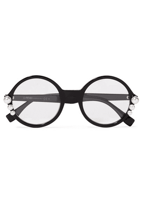 Fendi - Faux Pearl-embellished Round-frame Acetate Optical Glasses - Black