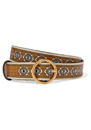 Etro - Printed Leather Belt - Yellow