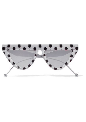 Fendi - D-frame Polka-dot Acetate And Silver-tone Mirrored Sunglasses - one size