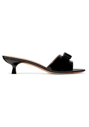 Salvatore Ferragamo - Ginostra Bow-embellished Patent-leather Mules - Black