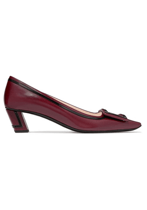 Roger Vivier - Belle Vivier Graphic Patent-trimmed Leather Pumps - Burgundy