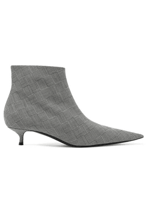 Balenciaga - Knife Checked Wool Ankle Boots - Gray