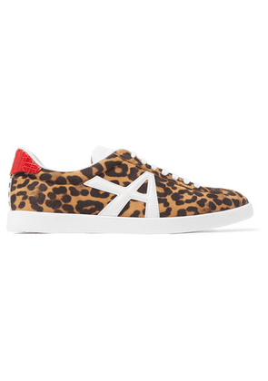 Aquazzura - The A Leather-trimmed Leopard-print Suede Sneakers - Leopard print