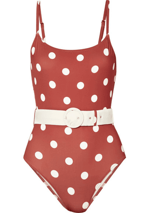 Solid & Striped - The Nina Belted Polka-dot Swimsuit - Orange