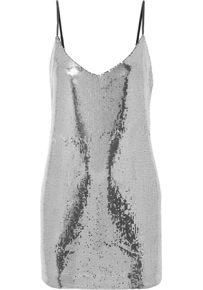 RtA - Bijoux Sequined Crepe De Chine Mini Dress - Silver