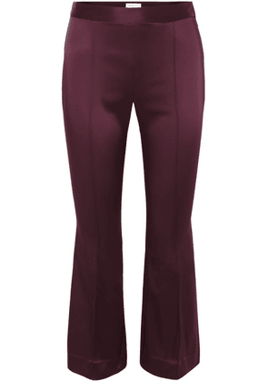 Rosetta Getty - Cropped Satin Flared Pants - Merlot