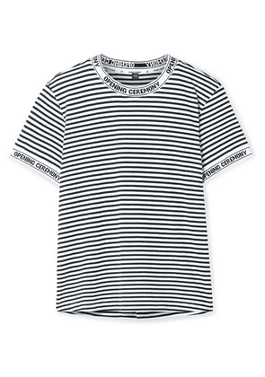Opening Ceremony - Intarsia-trimmed Striped Cotton-jersey T-shirt - White