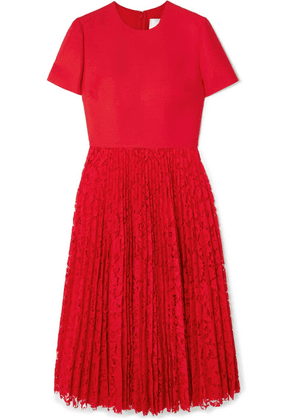Valentino - Pleated Lace And Crepe Midi Dress - Red