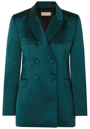 Les Héroïnes - The Gladys Double-breasted Duchesse-satin Blazer - Teal