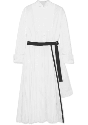 Sacai - Belted Pleated Poplin And Piqué Midi Dress - White