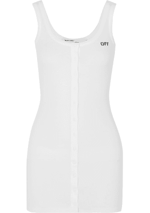 Off-White - Printed Ribbed Stretch-cotton Jersey Mini Dress - IT48