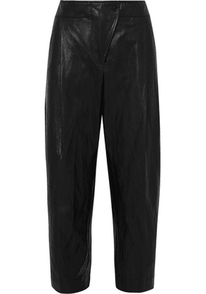 Cédric Charlier - Faux Leather Tapered Pants - Black