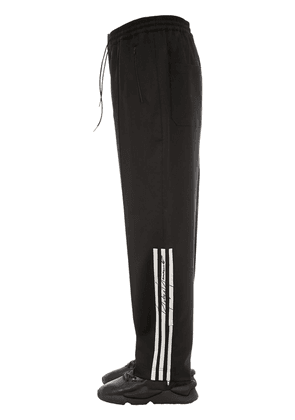 3 Stripe Wide Leg Wool Blend Pants
