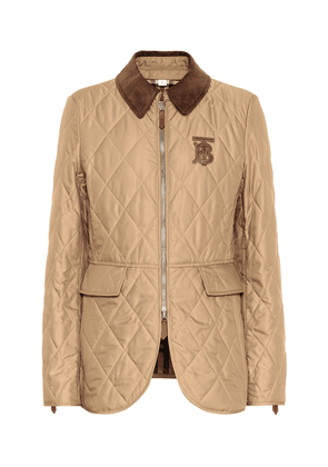 Leather-trimmed quilted jacket