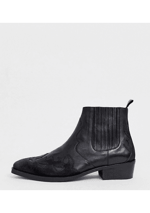 ASOS DESIGN Wide Fit cuban heel western chelsea boots in black leather and suede