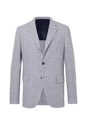 MP Massimo Piombo - Navy Andy Unstructured Puppytooth Linen Blazer - Blue