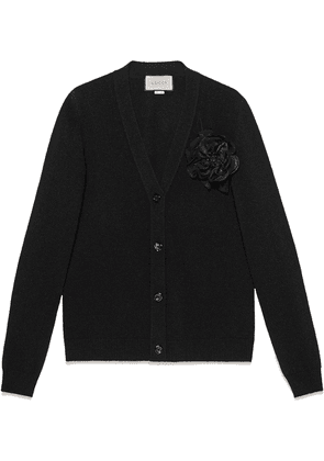 Gucci Wool cardigan with detachable rose - Black