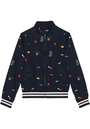 Gucci Embroidered cotton bomber jacket - Blue