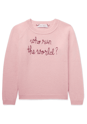 Lingua Franca Kids - Ages 2 - 6 Who Run The World Embroidered Cashmere Sweater