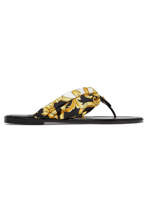 Versace - Printed Silk-twill And Leather Sandals - Gold