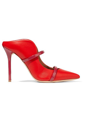 Malone Souliers - Maureen 100 Patent-trimmed Leather Mules - Red