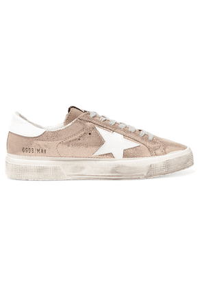 Golden Goose - May Distressed Metallic Suede And Leather Sneakers - IT36