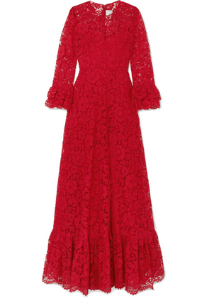 Valentino - Ruffled Guipure Lace Gown - Red