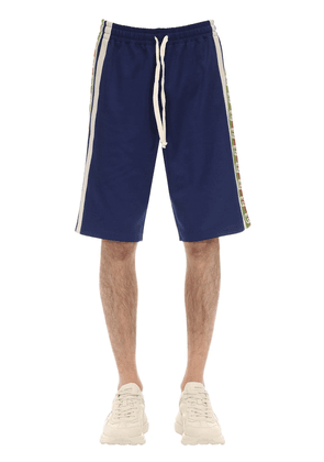 Cotton Blend Jersey Shorts W/ Logo Tape
