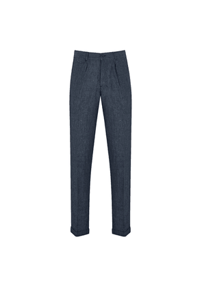 Washed-Blue Cotton Regular-Fit Frank Trousers