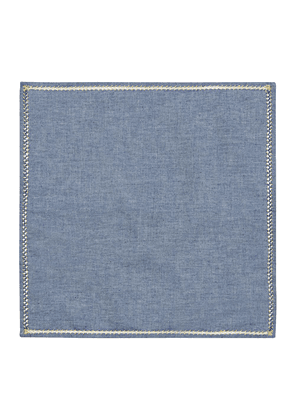 Denim Chambray Cotton Embroidered Column Pocket Square
